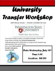 university transfer workshop
