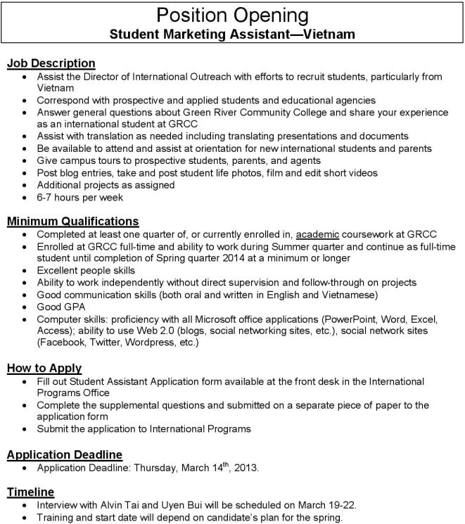 February 2013 Announcements Job Opportunity and Much More – Marketing Assistant Job Description